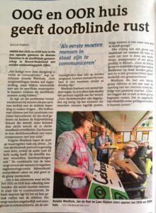 Foto van het artikel in het Dagblad van het Noorden