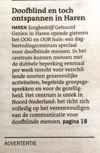 Een kopie van de aankondiging van het artikel op het voorblad van editie Groningen