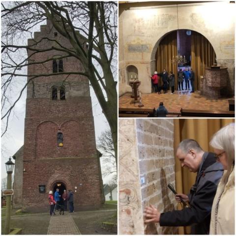 De Magnuskerk in Anloo: voelen aan de muur hoe dik deze wel niet is!
