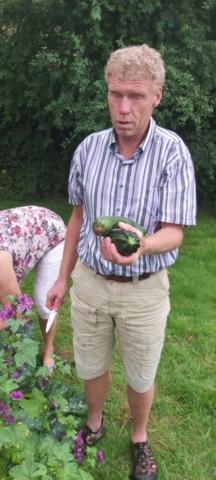 Henk snijdt een courgette van de courgetteplant af en laat hem trots zien